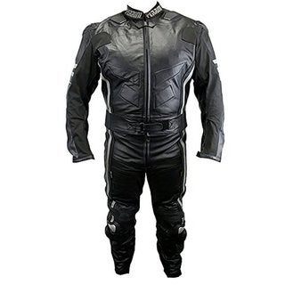 Defender Perrini Ghost II Motorcycle Racing 2-piece Leather Suit with Metal Waist Zipper