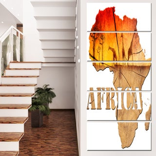 Designart 'Africa Map Wooden Illustration' Canvas Artwork' 28x60' 5 Panels