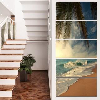 Designart 'Beautiful Tropical Beach with Palms' Beach Canvas Wall Art