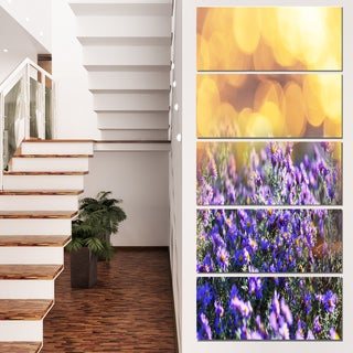 Designart 'Purple Flowers on Brown Background' Large Flower Wall Artwork