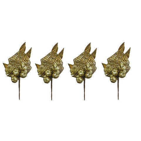 Gold-tone Glitter 9-inch Apple Leaf Christmas Picks (Pack of 4)