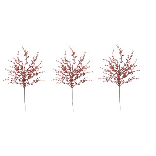 Red Plastic and Glitter 26-inch Tea Leaf Christmas Sprays (Pack of 3)