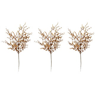Copper Plastic 26-inch Glitter Tea Leaf Christmas Spray (Pack of 3)