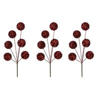 16-inch Glitter Sequin Ball Red Christmas Spray (Pack of 3)