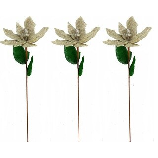 Burlap and Plastic 20-inch Poinsettia Christmas Picks (Pack of 3)