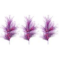 Violet Plastic 35-inch Glitter Ornament Ball Christmas Spray (3-piece Set)