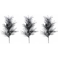 Black Glitter 35-inch Christmas Ball Ornament Sprays (Pack of 3)