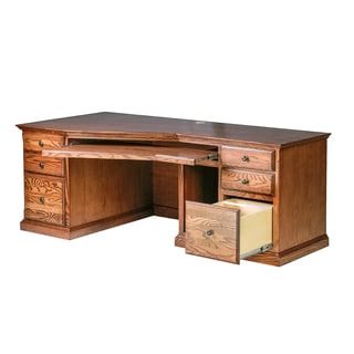 Forest Designs Traditional Black Knobs Natural Finish Wooden Angled Computer Desk
