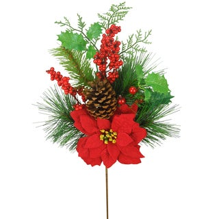 Plastic 26-inch Christmas Poinsettia Berry Pinecone and Holly Leaf Spray