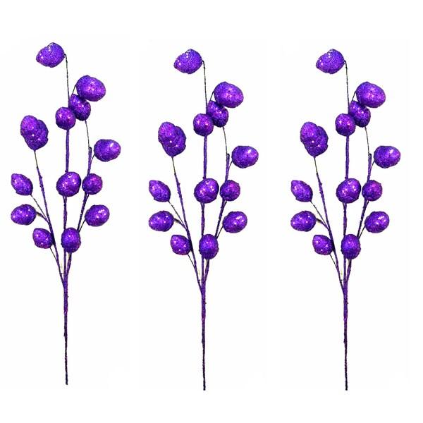Purple 29-inch Glitter Oval Ball Christmas Sprays (Set of 3)