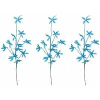 Turquoise Plastic 25-inch Glitter Leaf Christmas Sprays (Pack of 3)
