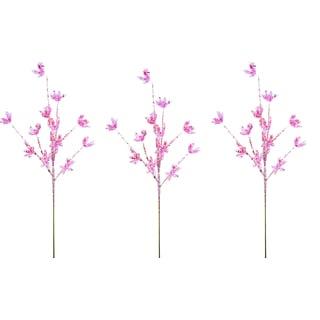 Pink Plastic 25-inch Glitter Leaf Christmas Sprays (Pack of 3)