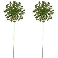 Green Plastic 25-inch Glitter Taracacum Ball Christmas Spray (Set of 2)