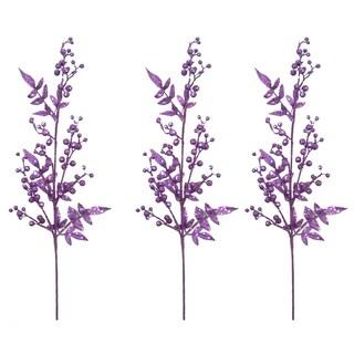 Lavender 40-inch Glitter Berry Christmas Sprays (Set of 3)
