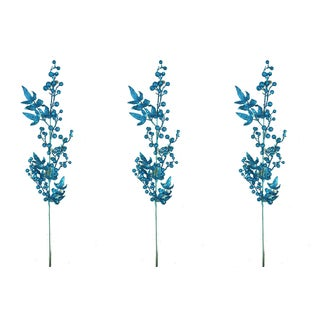 Blue Plastic 40-inch Glitter Berry Christmas Spray (Set of 3)