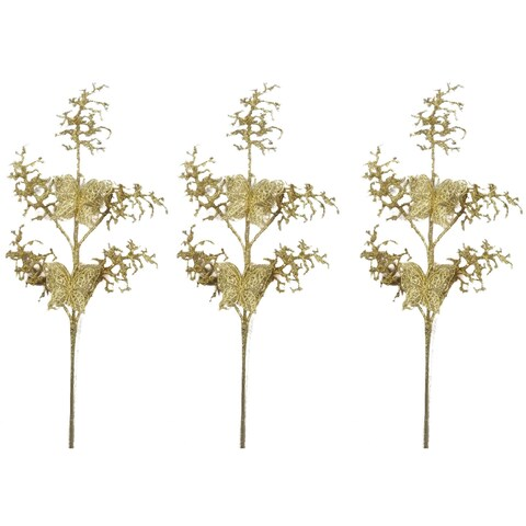 Gold 30-inch Glitter Coral and Butterfly Christmas Sprays (Set of 3)