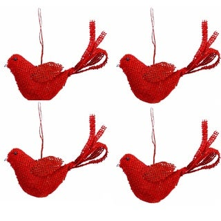 Christmas Red Burlap 7-inch Hanging Bird (Pack of 4)
