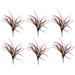 Red and Gold-tone Plastic and Glitter 15-inch Pigeon Bush Christmas Sprays (Pack of 6)