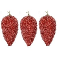 Red Plastic 10-inch Glitter Pinecone Christmas Ornament Ball (Set of 3)