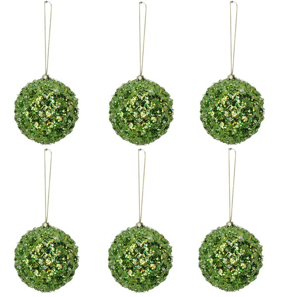 tiffany green plastic 4 inch beaded christmas ornaments pack of 6 - Metal Christmas Ornaments