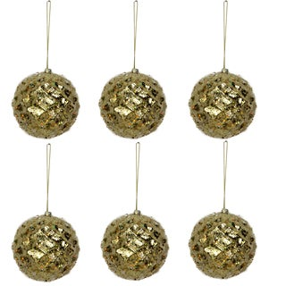 Glitter Tiffany Gold Plastic and Beaded Metal 4-inch Christmas Ornament Ball (Pack of 6)