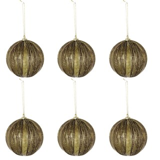 Plastic and Metal 5-inch Ribbed Vintage Christmas Ball Ornaments (Pack of 6)