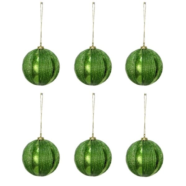 Green Plastic 4 Inch Ribbed Christmas Ornament Balls 6 Pack Overstock 13253902