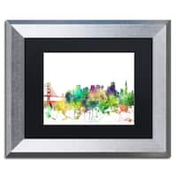 Marlene Watson 'San Francisco California Skyline SP' Matted Framed Art