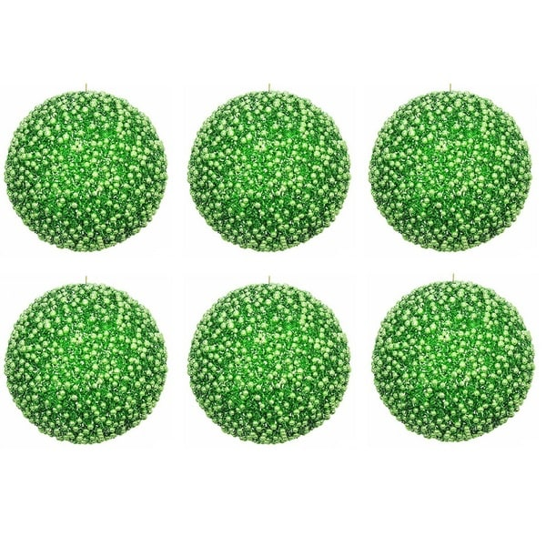 Green Plastic 4-inch Glitter Pearls Christmas Ornament Ball (6 Pack)