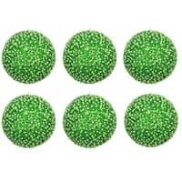 Green Plastic 4-inch Glitter Pearls Christmas Ornament Ball (6 Pack)