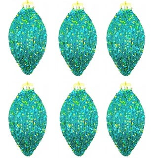 6-inch Glitter Oval Christmas Turquoise Ornaments (Pack of 6)
