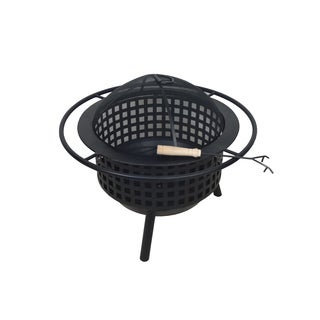 Crawford & Burke Krakatoa Black Metal Circular Lattice Design Wood Burning Fire Pit