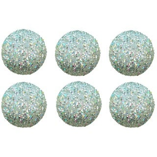 Silver Plastic 4-inch Glitter Sequin Christmas Ball Ornament (Pack of 6)