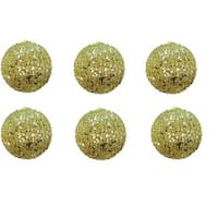 4-inch Glitter Sequin Champagne Christmas Ornament Ball (Set of 6)