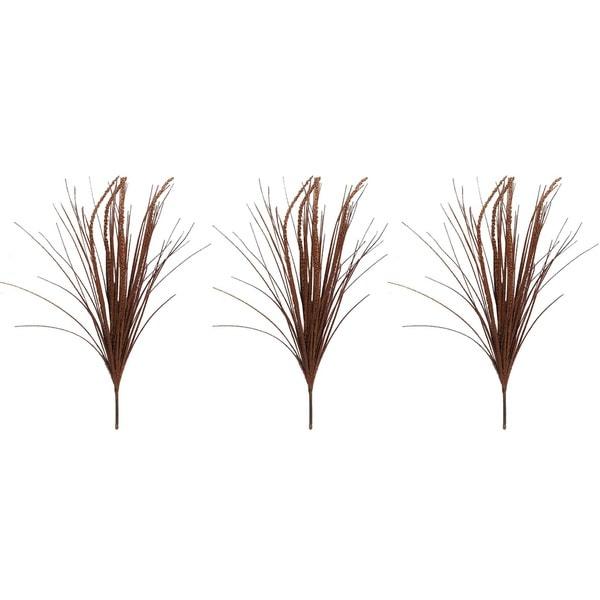 Copper Plastic 28-inch Glitter Grass Bush Christmas Sprays (Pack of 3)