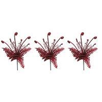 Red Plastic 18-inch Glitter Grass Bush Christmas Sprays (Pack of 3)
