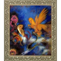 Odilon Redon 'Roger and Angelica, 1910' Hand Painted Framed Oil Reproduction on Canvas