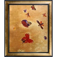 Odilon Redon 'Butterflies, 1913' Hand Painted Framed Oil Reproduction on Canvas