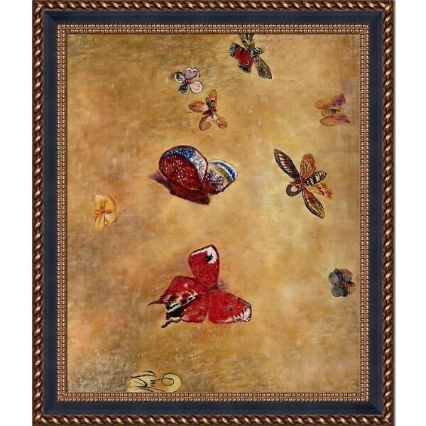 Odilon Redon \'Butterflies, 1913\' Hand Painted Framed Oil ...