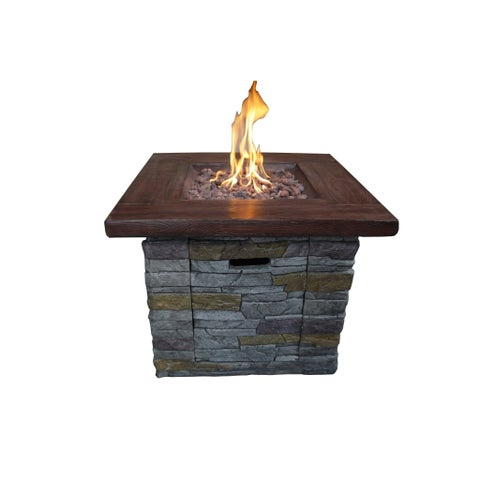 Crawford & Burke Vesuvius Grey Brick Outdoor Square Gas Fire Pit
