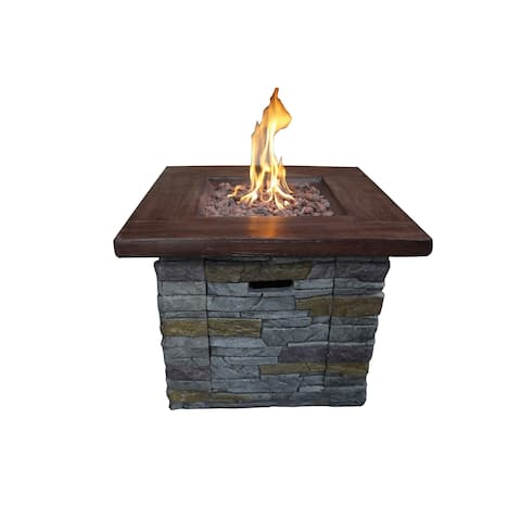 Java 30-inch Outdoor Square Propane Fire Pit with Lava Rocks