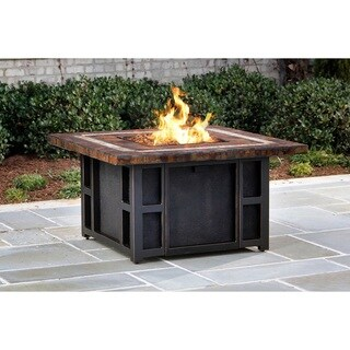 Aspen Firepit Table with Strip Burner System, Amber Lava Rocks and Weather Cover