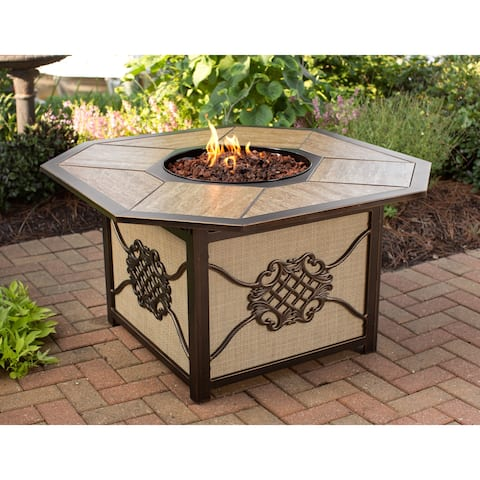 Memorial Gas Firepit Table with Porcelain top, Burner and Red Lava Rocks