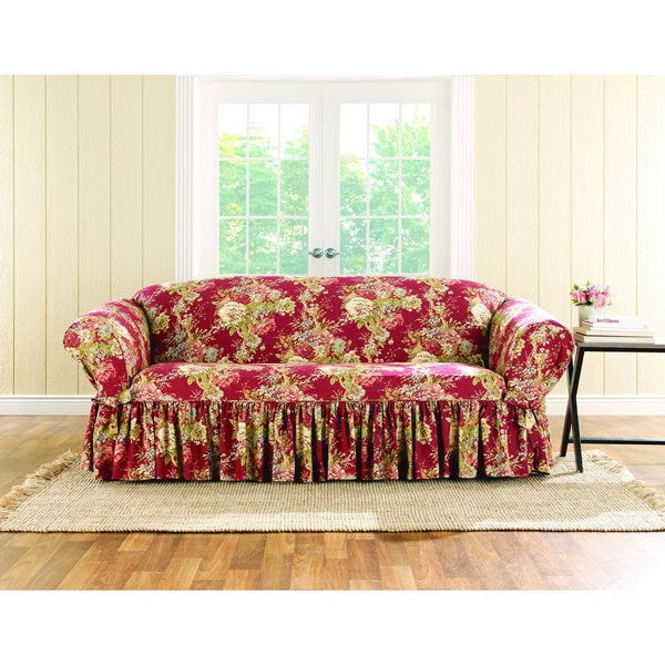 Shop Sure Fit Ballad Bouquet Sofa Skirted Slipcover ...
