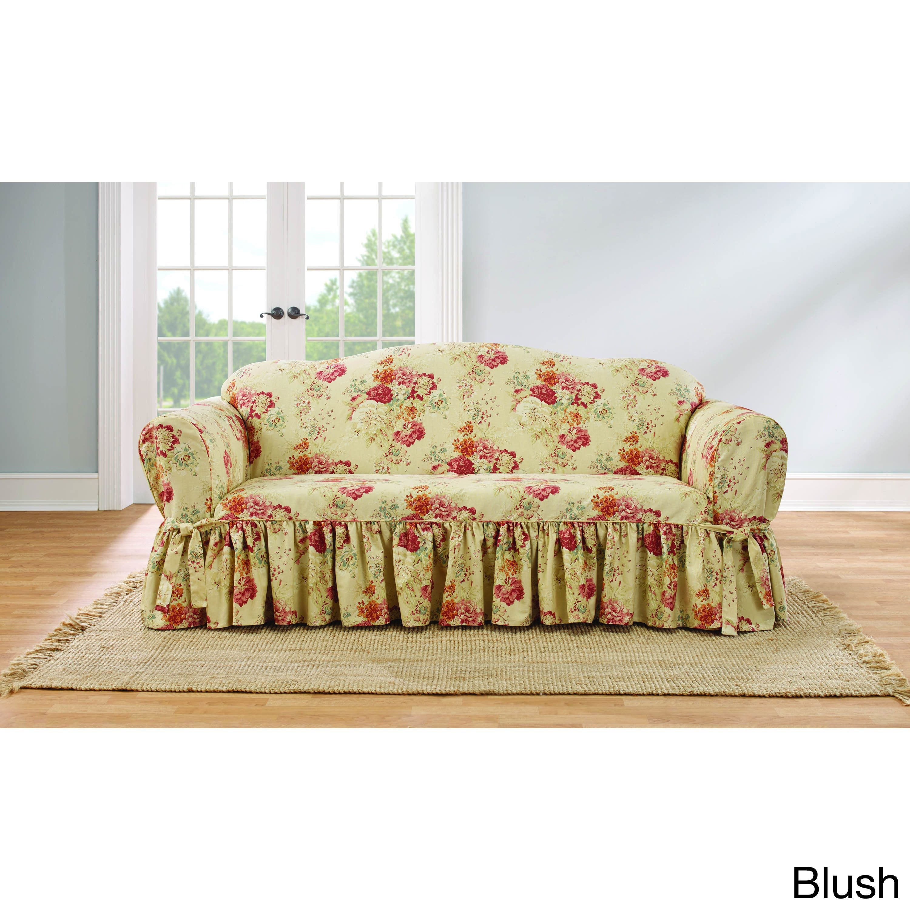 Sure Fit Ballad Bouquet Sofa Skirted Slipcover (Sofa, Blu...