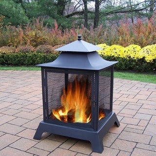 Oakland Living Highland Black Iron Fire Pit with Spark Guard Screens, Door with Full 360-degree View