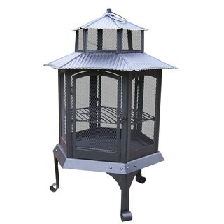 Oakland Living Corporation Coastal Fire Pit with Spark Guard Screens and Full 360-view Door