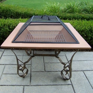 Royal Square Antique Bronze and Cooper Fire Pit with Spark Guard Lid