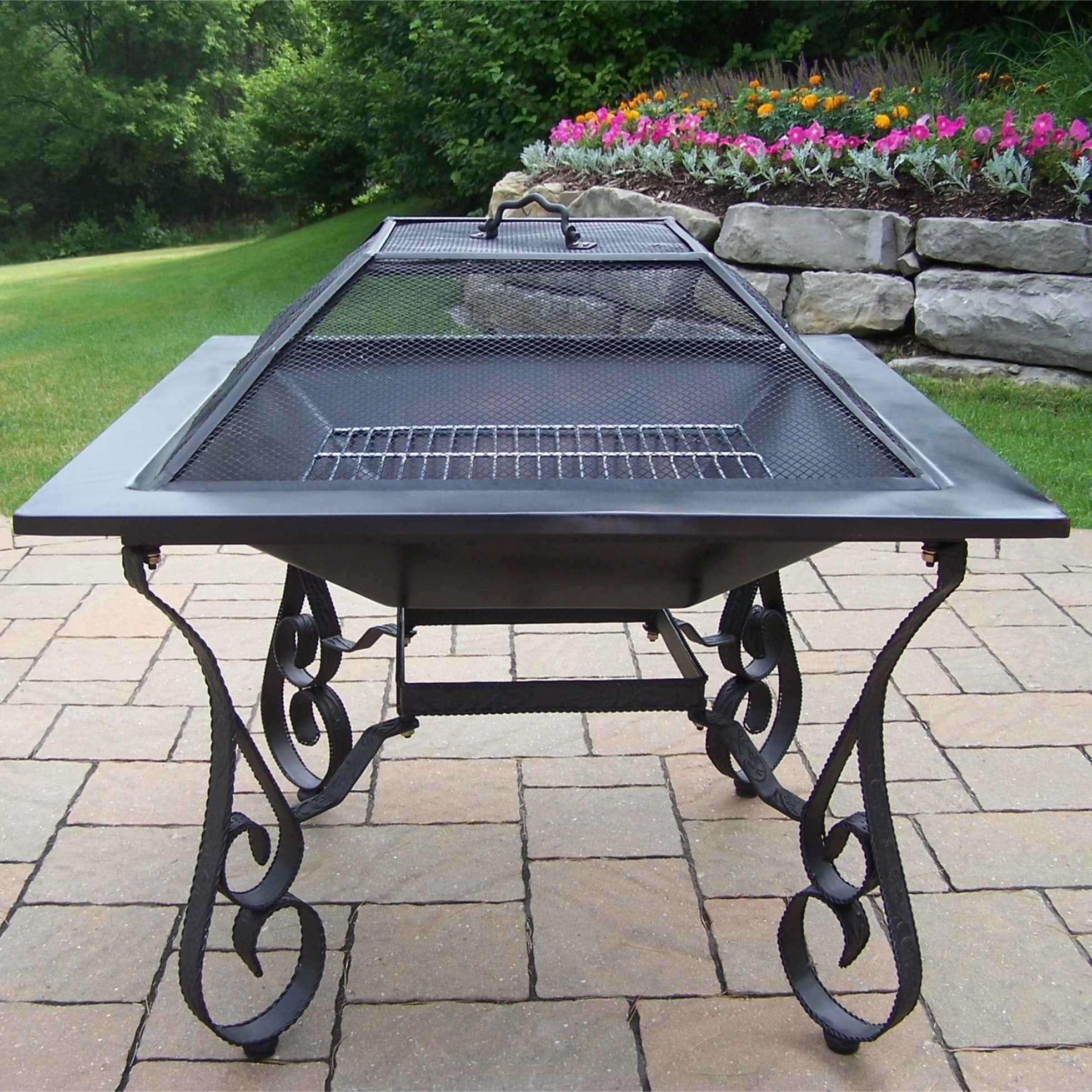 Oakland Corporation Royal Black Square Fire Pit With Spar...