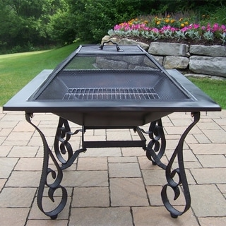 Oakland Living Corporation Royal Black Square Fire Pit With Spark Guard Lid and Grill